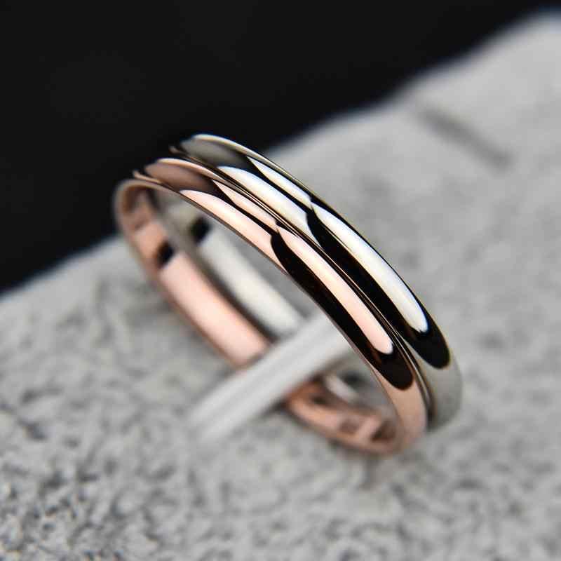 1 Pc Hot Titanium Staal Rose Gouden Ring Anti-Allergie Gladde Eenvoudige Bruiloft Koppels Bijouterie Ringen Voor Vrouwen Mannen sieraden Gift