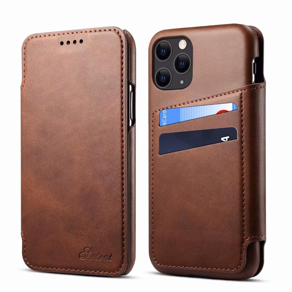 New Flip Phone Case For iPhone 11 Pro Max Luxury Leather Case For iPhone 7 Plus 11promax phone case bag coque image