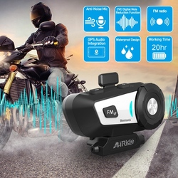 AiRide G1 Motorcycle Helmet Headphone 10M Bluetooth Group Interphone Waterproof with Voice Control, CVC Noise Canceling