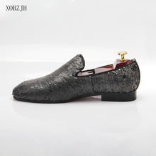 XOBZJH Man Shoes 2019 New Summer Sequin Cloth ManS Fashion Business Dress Wedding Party Slip On Gray Big Size