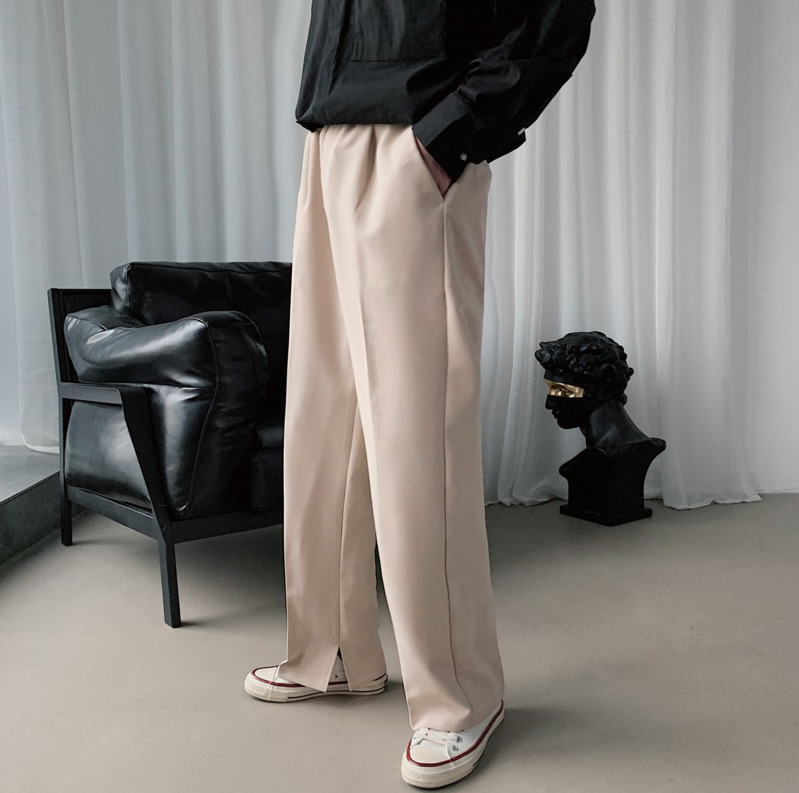 2020 Spring And Autumn New Youth Popular Solid Color Loose Retro Trousers Fashion Casual Simple Straight Khaki / Black
