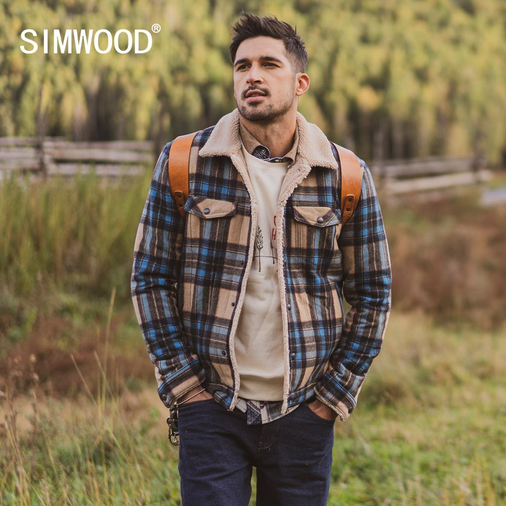 SIMWOOD 2019 Winter New Shearling-Trimmed Checked Wool-Blend Jacket Men Fashion Warm Fleece Inner Plus Size Coats SI980766