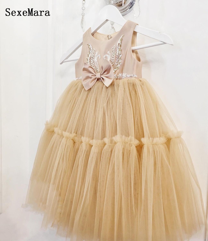 Neue Champagne Baby Mädchen Kleider Party Kleider Tüll Pailletten