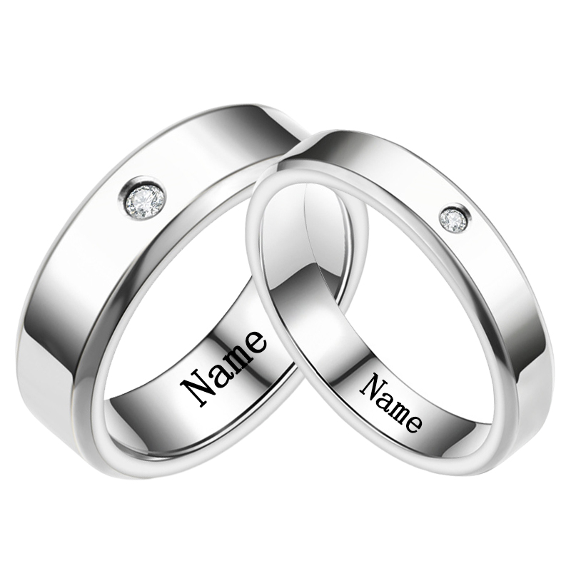 YWSHK 2021 Personalize Engrave Name Stainless Steel Rhinestone Couple Ring Luxury Inlaid Crystal Wedding Jewelry Accessories