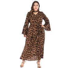 2019 Autumn Plus size Leopard Print Long Dress Sexy V neck Women Party Club Maxi Bell sleeve 3XL Large Loose Vestidos