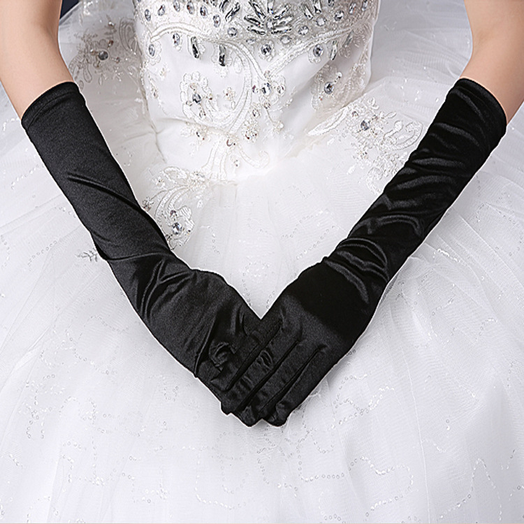 Bridal Gloves Gloves With Long Faced Face Satin Gloves Black