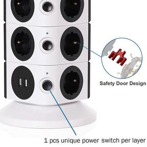 Image 3 - Kule güç şeridi dikey dalgalanma koruması 11/15 prizleri 2 USB şarj portu 6.5ft/2M uzatma kablosu ev aletleri için