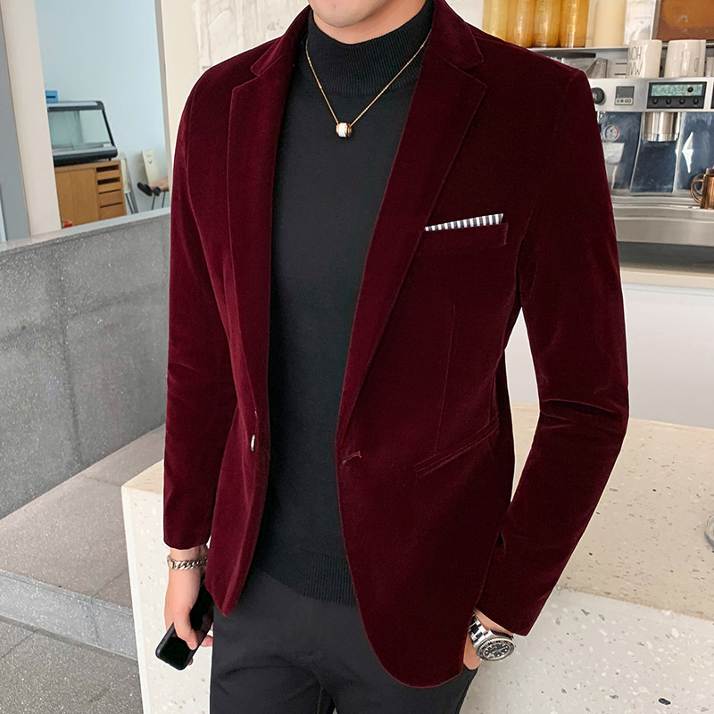 Autum Velvet Wedding Dress Coat Mens Blazer Jacket Fashion Casual Suit JacketStage DJ Men's Business Blazers Veste Costume Homme