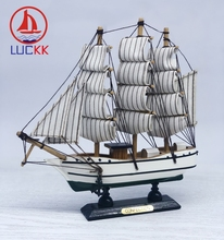 LUCKK 20CM Handmade Wooden Sailboat Model Home Interior Decoration Miniatures Figurines Wood Crafts Nautical European Ornaments