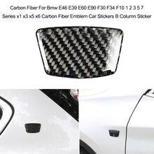 Carbon Fiber Car Sticker For Bmw E46 E39 E60 E90 F30 F34 F10 1 2 3 5 7 Series x1 x3 x5 x6 Carbon Fiber Emblem B Column Sticker