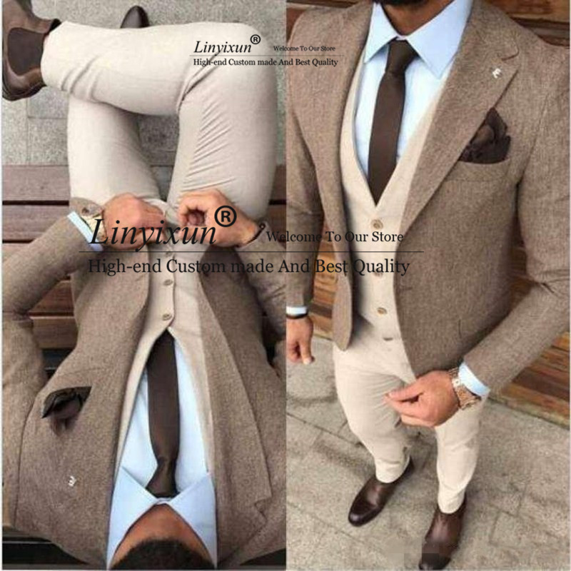 New Fashion Winter Tweed Man Business Suits Groom Tuxedos Slim Fits Men Prom Party Suits Coat Trousers Sets (Jacket+Vest+Pant)