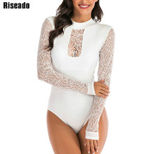 Riseado Rash Guard Long Sleeved One Piece Swimsuits Swimming Surfing Suits Sexy Mesh Swimwear Women See Through Beachwear