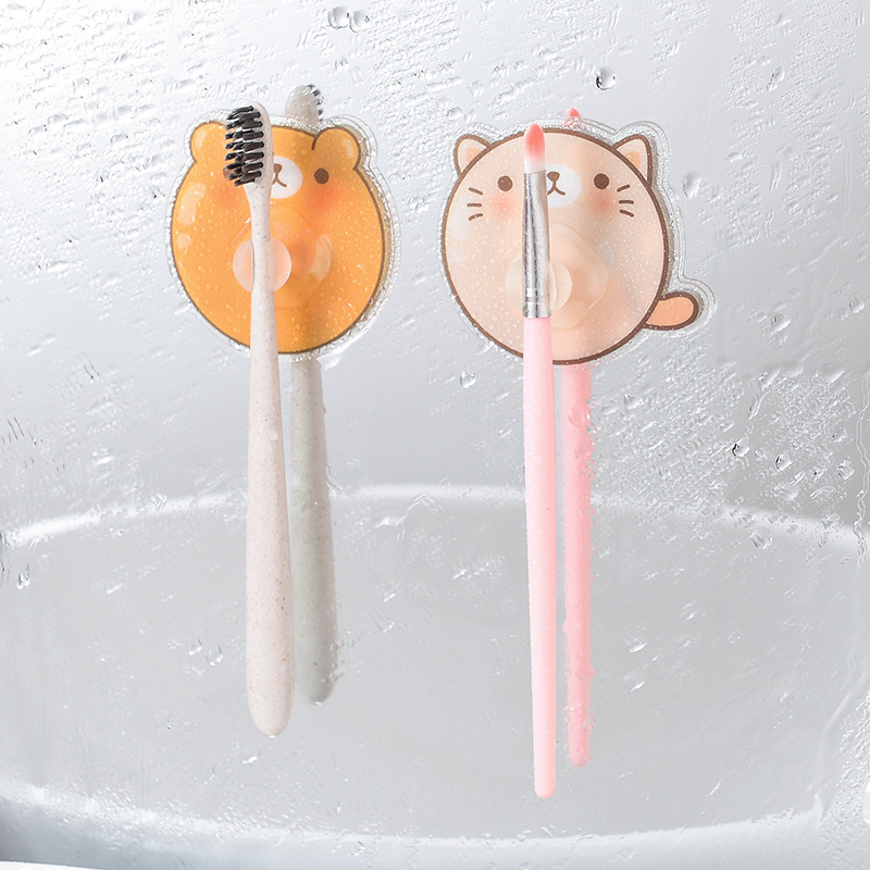 Cartoon Toothbrush Holder Without Sticking Toothbrush Rack Toilet Shaver Organize Tooth Brush Storage For Kids Bathroom Tools