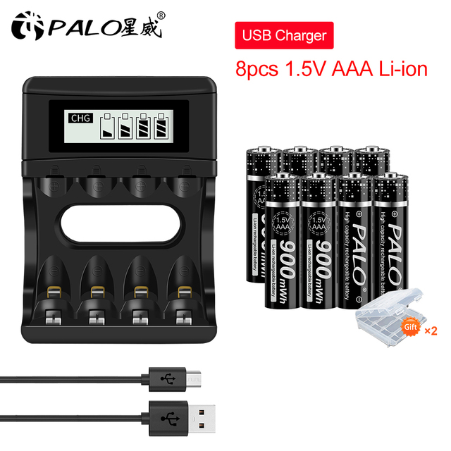 פאלו 4 24pcs 900mWh 1.5V AAA סוללה נטענת ליתיום ליתיום Li יון 3A סוללות עם LCD תצוגה חכם סוללה מטען