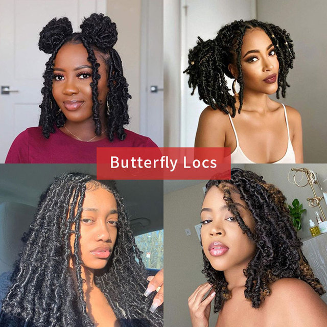 Butterfly Faux Locs Crochet Goddess Braids Synthetic Hair Extensions 20 Strands/pack 14inch Natural Black Braiding Hair BY195 6