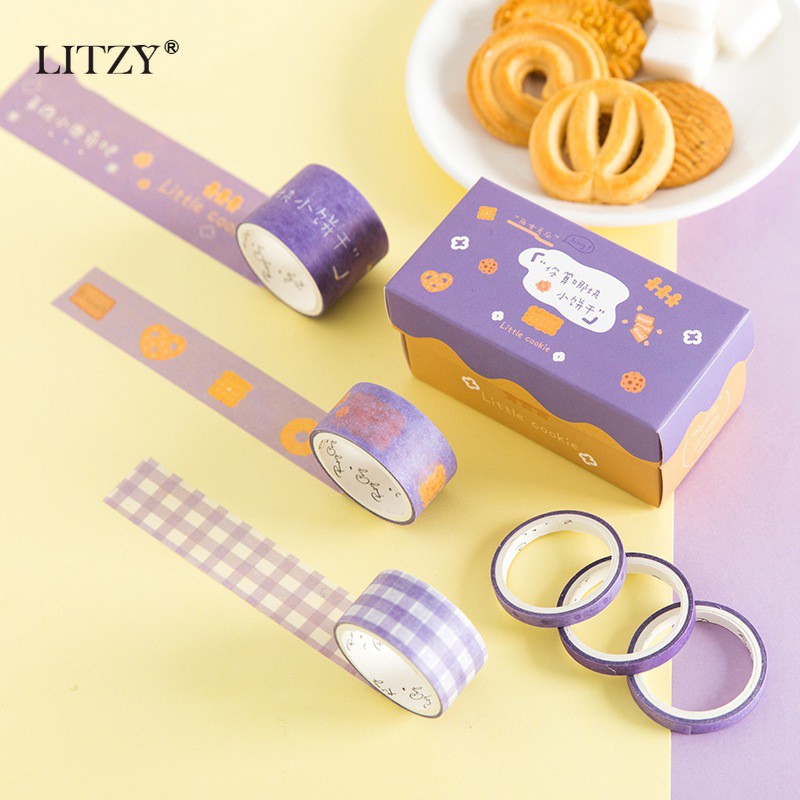 6Pcs/Lot Washi Tape Set Cute Cartoon Cookies Stationery Scrapbooking Decoration Masking Tape Decoration School Office Supplies