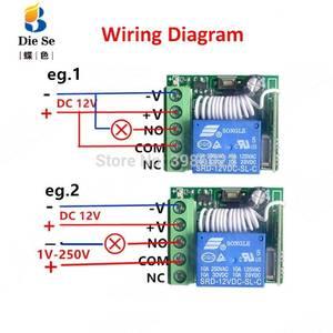 Image 3 - 433MHz האלחוטי אוניברסלי rf ממסר 12v 1CH מקלט מודול RF מתג 1 כפתור שלטים עבור שער מוסך פותחן
