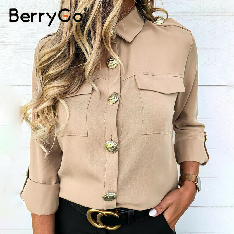BerryGo Vintage buttons women   blouse     shirt   Spring elegant long sleeve   shirt   female tops Casual streetwear work summer top blusas