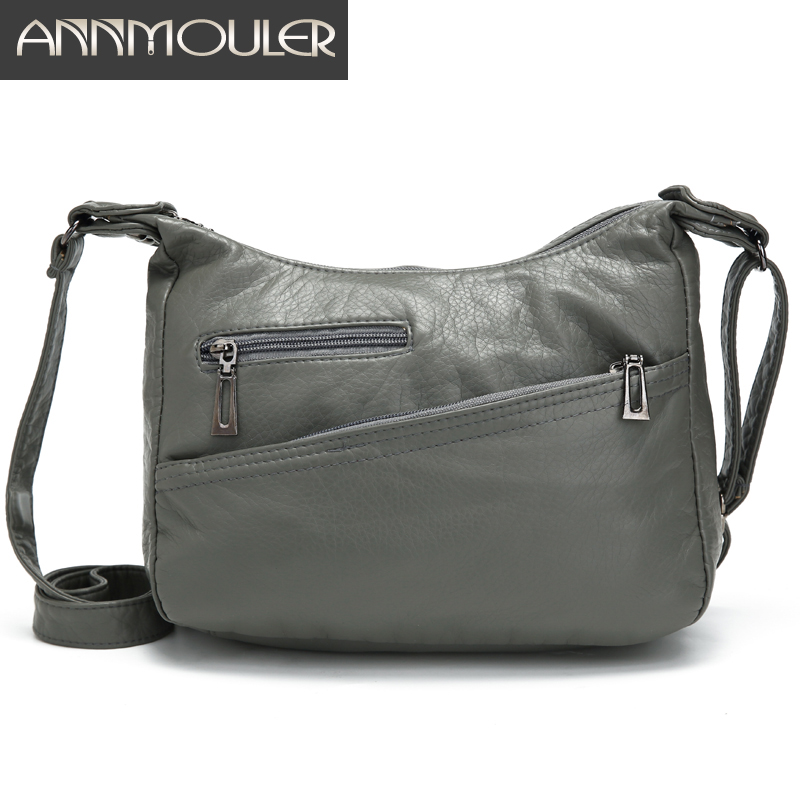 Annmouler Casual Women Shoulder Bag Soft Pu Leather Crossbody Bag For Female Small Messenger Bag Purse Pockets Flap Bag Sac Fem