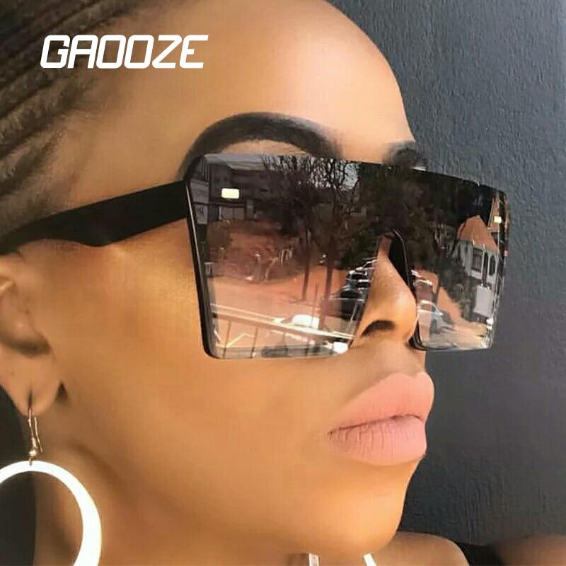 GAOOZE Oversized Sunglasses Women Female Glasses For Women's Sunglasses Big Frame Square Sun Glasses Women's 2020 Colorful LXD65