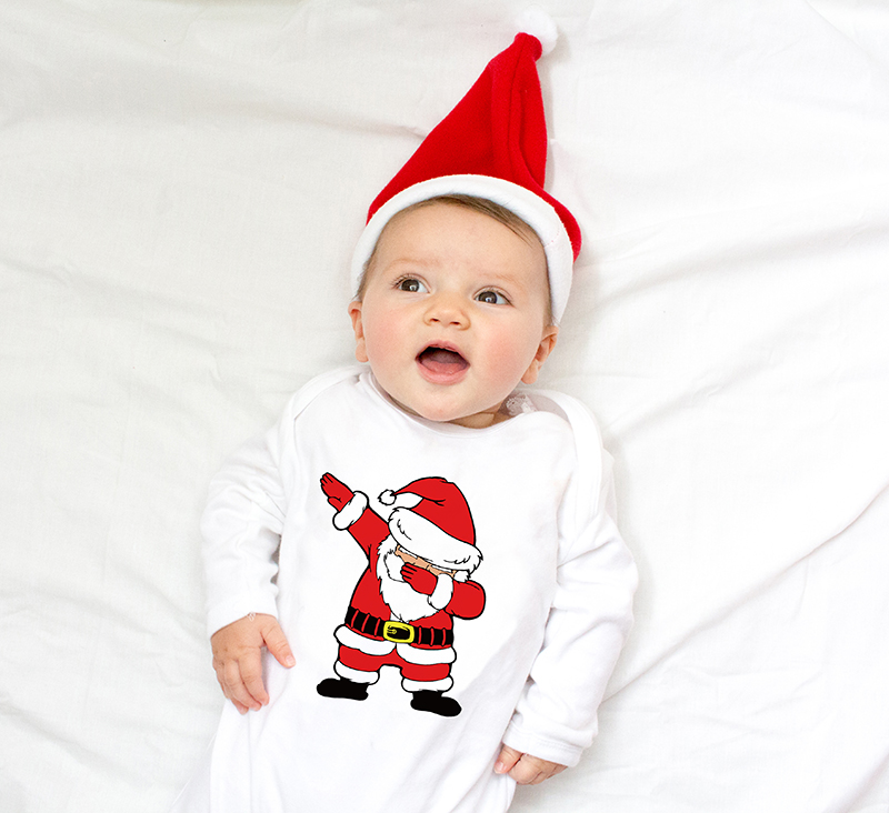 Infant Newborn Baby Girls Boys Long Sleeve Dabbing Santa Graphic Print   Romper   Jumpsuit Outfit Clothes Christmas Babe Ropa