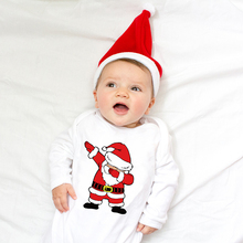 Infant Newborn Baby Girls Boys Long Sleeve Dabbing Santa Graphic Print Romper Ju