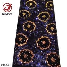 Африканская блестящая бархатная кружевная ткань Высококачественная блестящая кружевная ткань с вышивкой для нигерийских вечерние платья ZXR-04