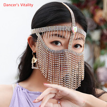Belly Dance Face Mask Metal Diamond Chain Veil Indian Dancing Female Adult High-End Face Cover Performance Accessories