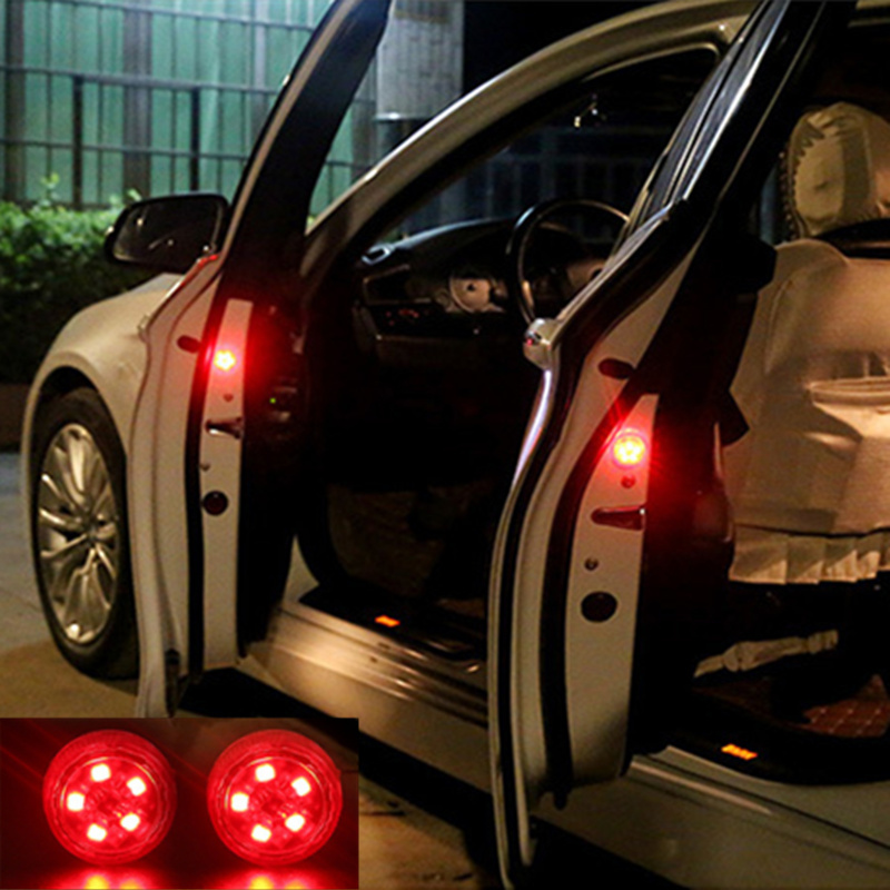 2pcs Car Door Opening Warning Lights Wireless Magnetic Design Strobe Flashing Anti Rear-end Collision Safety Lamps 3 LED
