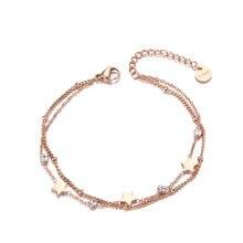 Lokaer camadas duplas cz ctystal estrela charme pulseira para mulher de aço inoxidável bohemia elo de corrente pulseiras jóias b19080