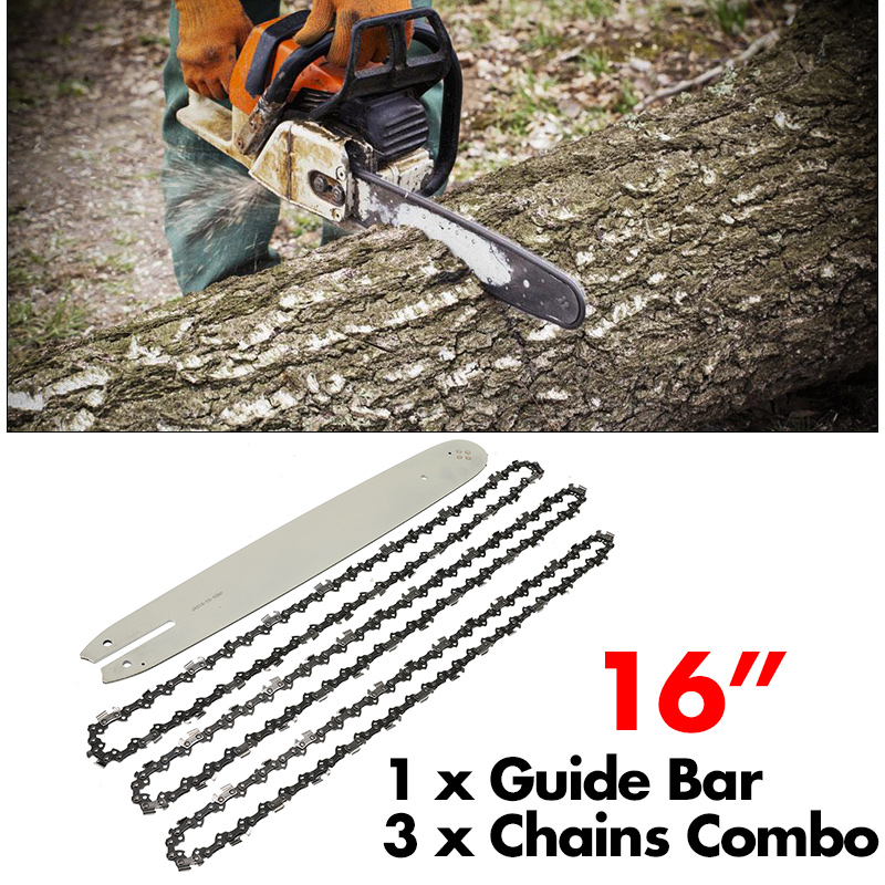 16 Inch Chain Saw Guide Bar With 3pcs Chains 3/8LP 050