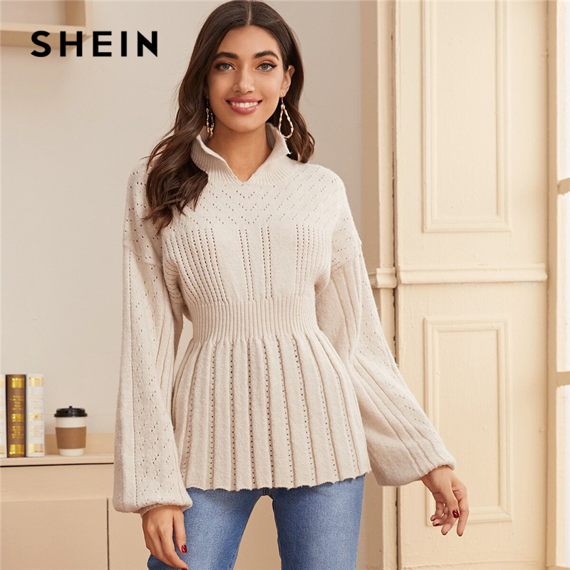 SHEIN Beige Lantern Sleeve Pointelle Knit Ribbed Hem Peplum Sweater Spring Stand Collar Pleated Solid Casual Cute Sweaters 1