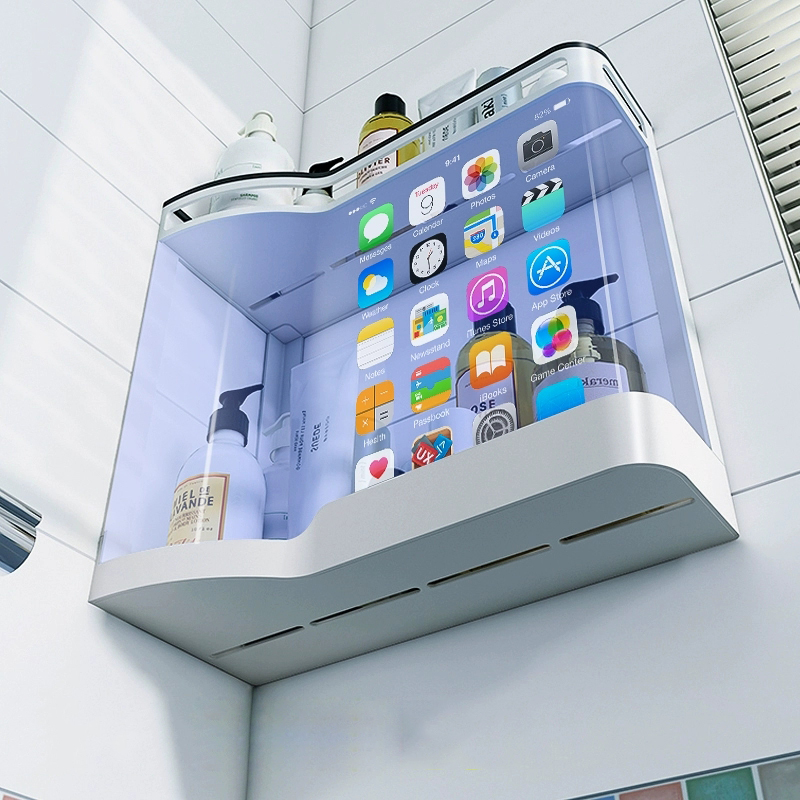 Punch-free Bathroom Shelf Shampoo Cosmetic Storage Rack Wall Mounted Kitchen Plastic Organizer Holder Home Bathroom Accessories
