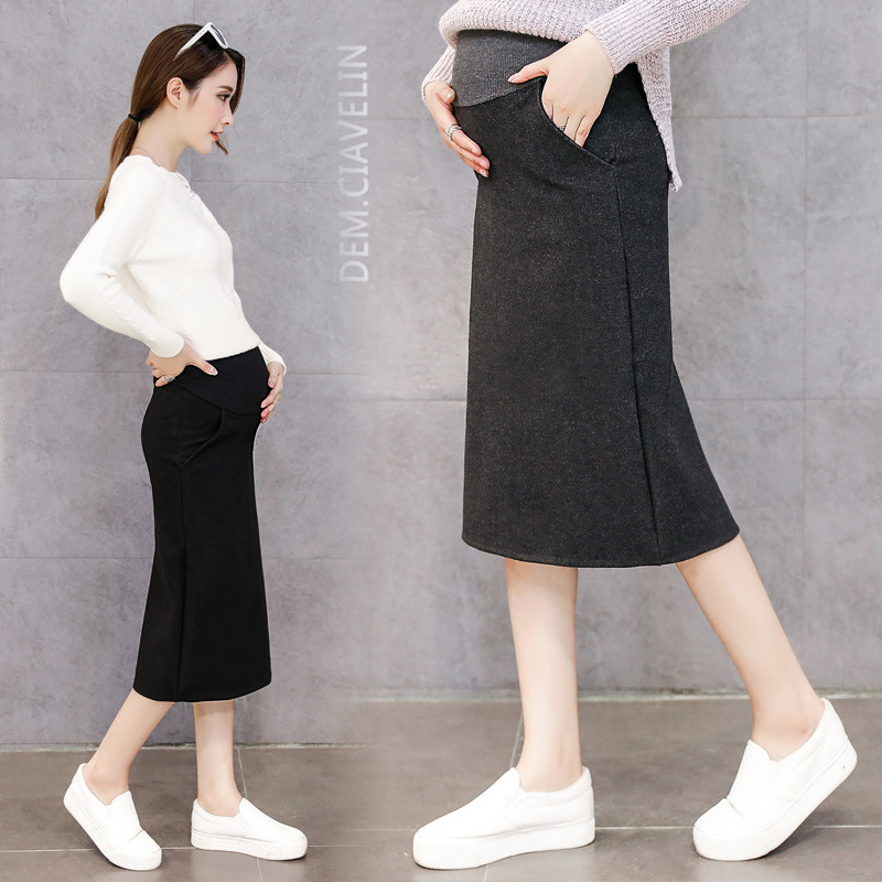 New Style Maternity Clothes Autumn & Winter Pregnant Women Woolen Skirt Mid-length Korean-style Fashion Mom Slit Abdominal Suppo