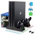 Консоль PS4 Pro  вертикальная подставка  2 светодиодных контроллера  зарядная док-станция PS 4  охлаждающий вентилятор  12 игр  дисковое хранилище ...