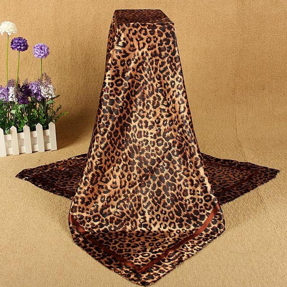 2020 New  Women's New Fashion Leopard Print Square Scarf Printed Silk Scarf Satin Shawl Scarfs Big Size Women Bandana #924