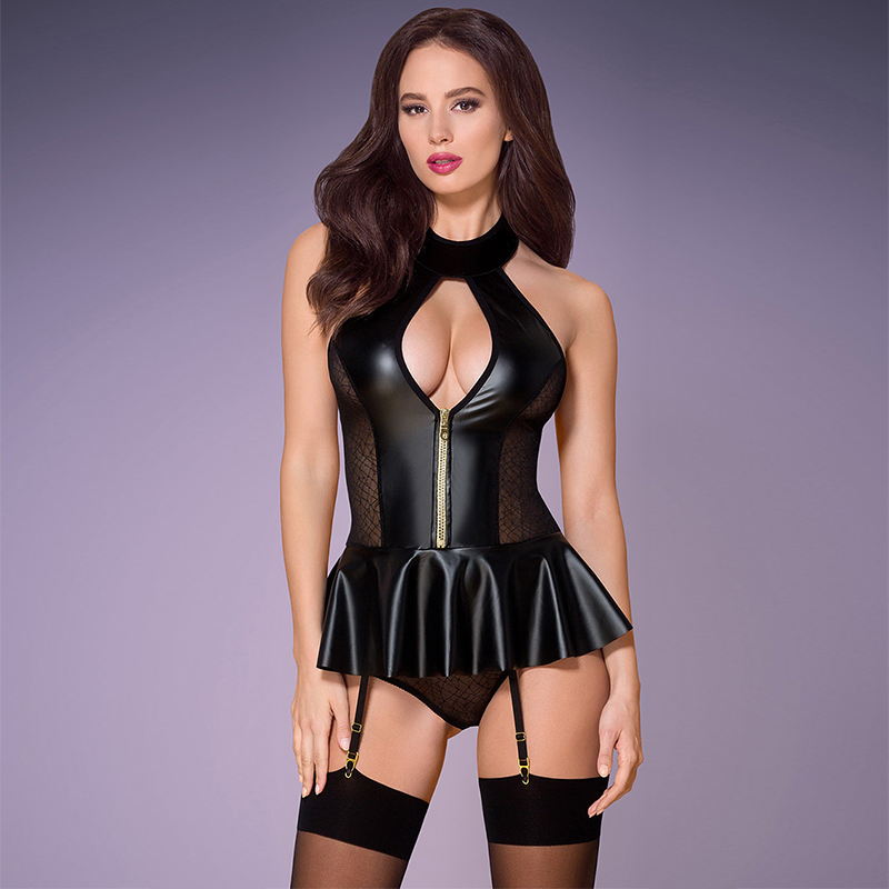 PU Lace See through Stitching Bodysuit Adult Black Nightclub Patent Leather Clothing Women Faux Leather Bodycon Fetish Jumpsuit