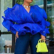 Falbala Blue Sexy Tunic Transparent Blouse Night Club Party Women Tops Long Sleeve V Neck Mesh Ruffles Summer Fall Blouse plain falbala patchwork blouse