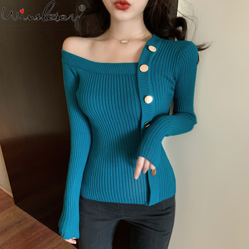 Knit Sweater Korean 2020 Casual One Shoulder Spring Women Tops Long Sleeve Pullover Slim Blusas футболка женская T04111B