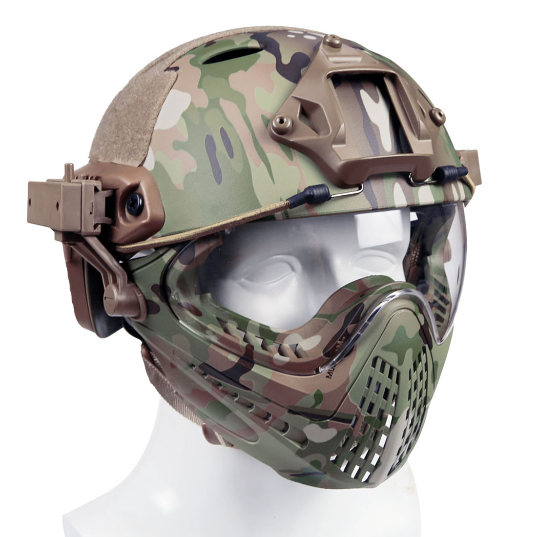 WST Navigator MH Updated Version Fast Tactical Helmet Combined With Foldable Half Face Mesh Mask And Goggles For CS Game Set