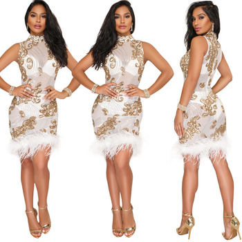 Sequined w/Feathers Dress 2
