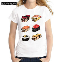 Sushi Pug Women T Shirts Cute Food Printed Lady Tops Short Sleeve O-Neck T-shirt Novelty Cool Tee(China)