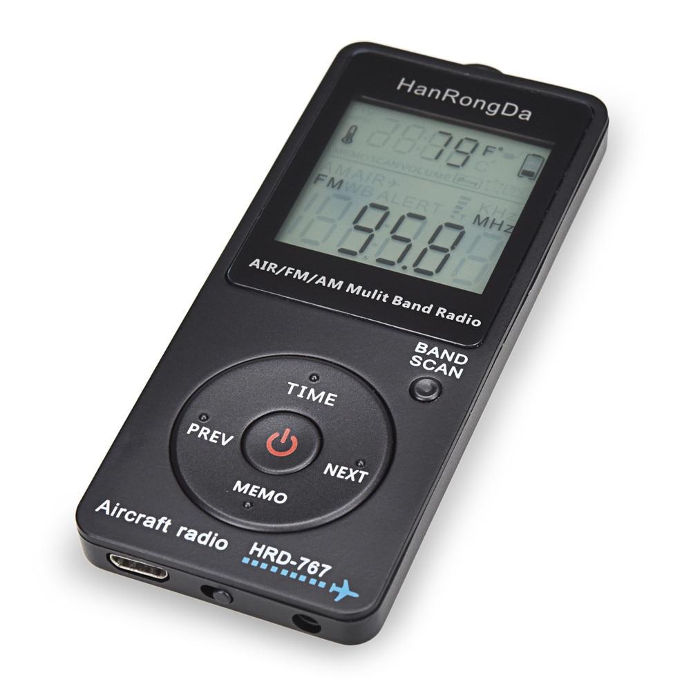HanRongDa HRD-767 Mini Pocket Radio Aircraft Band Receiver Portable Radios LCD Display Lock Button FM/AM/AIR Radio with Earphone