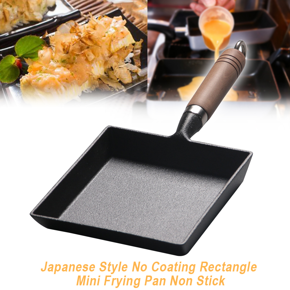 Japanese Style Thickened Tools Mini No Coating Cast Iron Frying Pan Omelette Kitchen Tamagoyaki Non Stick Heat Resistant