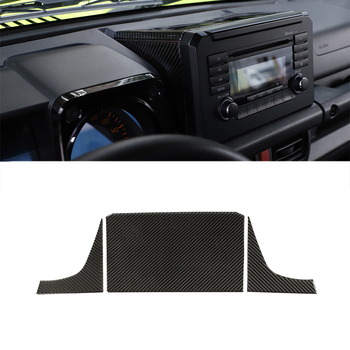 CD Screen Top / Side Trim Decorative Stickers for Suzuki Jimny 2019+ Car Interior Accessories Soft Carbon Fiber Look 3pcs/1set