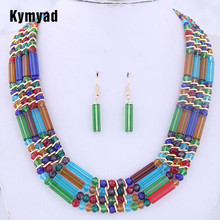 цены Kymyad Crystal Jewelry Sets For Women African Beads Jewelry Set Gold Color Multilayer Statement Collar Necklace Earrings Set