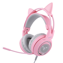 Wired Headset Pink Gaming Somic G951 Girl Noise-Cancelling with for Cat Surround-Sound