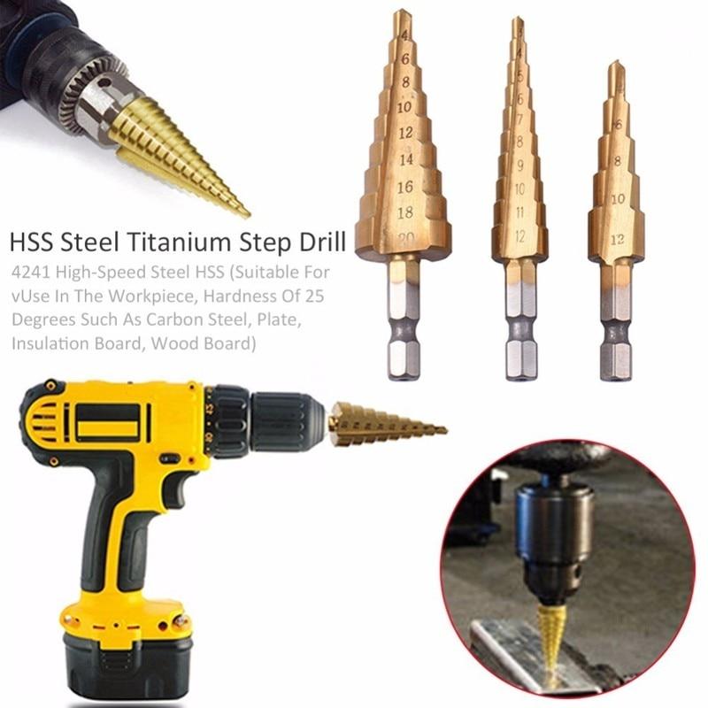 3pcs HSS Steel Titanium Step Drill Bits 3 12mm 4 12mm 4 20mm Step Cone Cutting Tools Steel Woodworking Wood Metal Drilling Set in Hand Tool Sets from Tools
