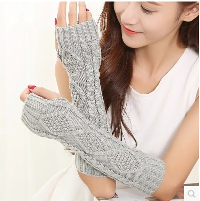 Wool Half-finger Gloves For Winter Warmth Knit Finger Revealing Long Argyle Arm Cover