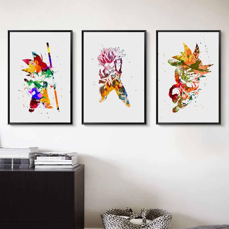 Dragon ball son goku bonito a4 pintura em tela arte impressão poster imagem decoração para casa menino quarto murais